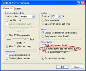 Tight VNC の オプション設定
